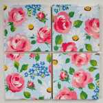 4 Ceramic Coasters in Cath Kidston Daisies and Roses